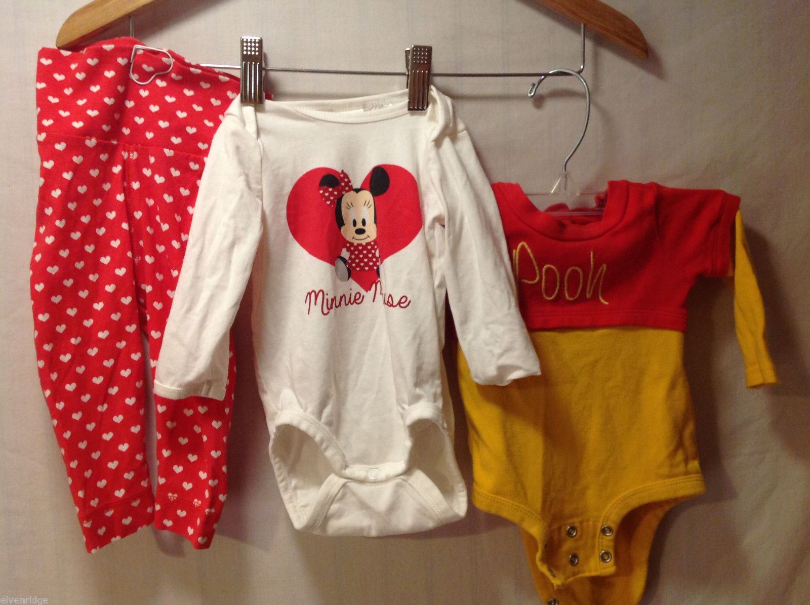 H&M Baby POOH BEAR and MINNIE Mouse DISNEY Outfits 100% Cotton, Size 3-6 Months