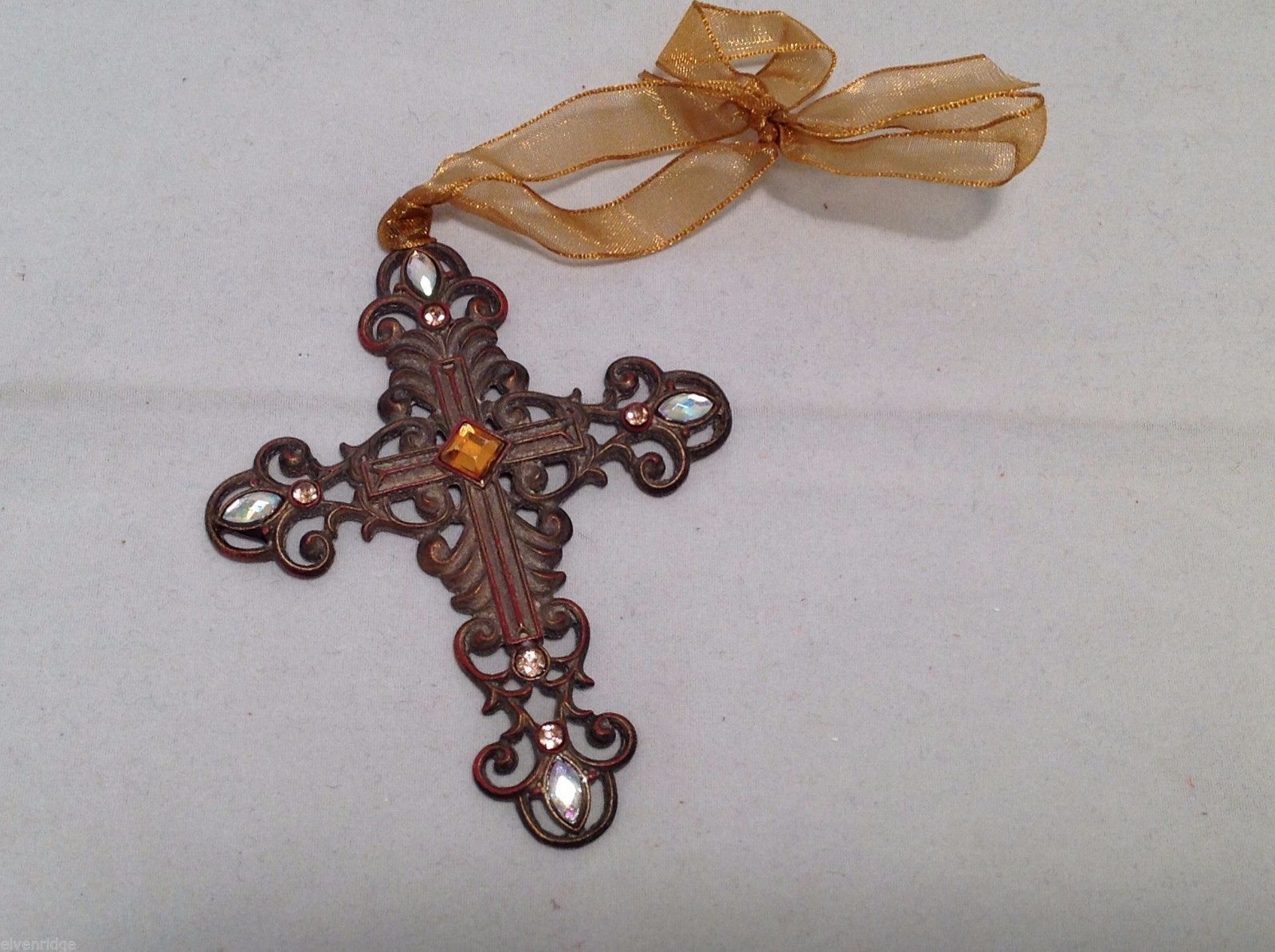 Vintage Look  Cross Ornament w sparkly white stones and yellow center stone NEW
