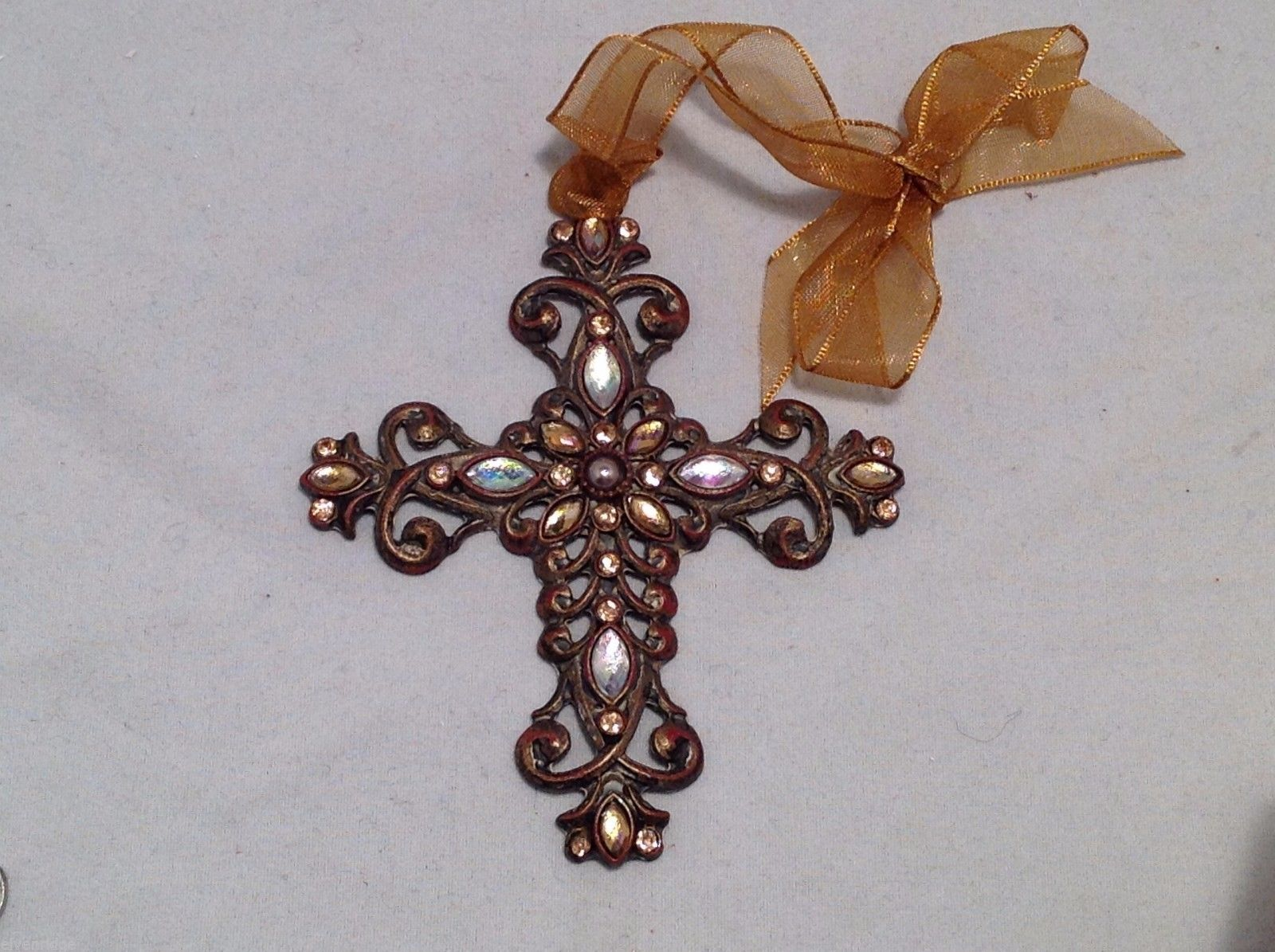 Vintage Look  Cross Ornament w sparkly  stones  NEW