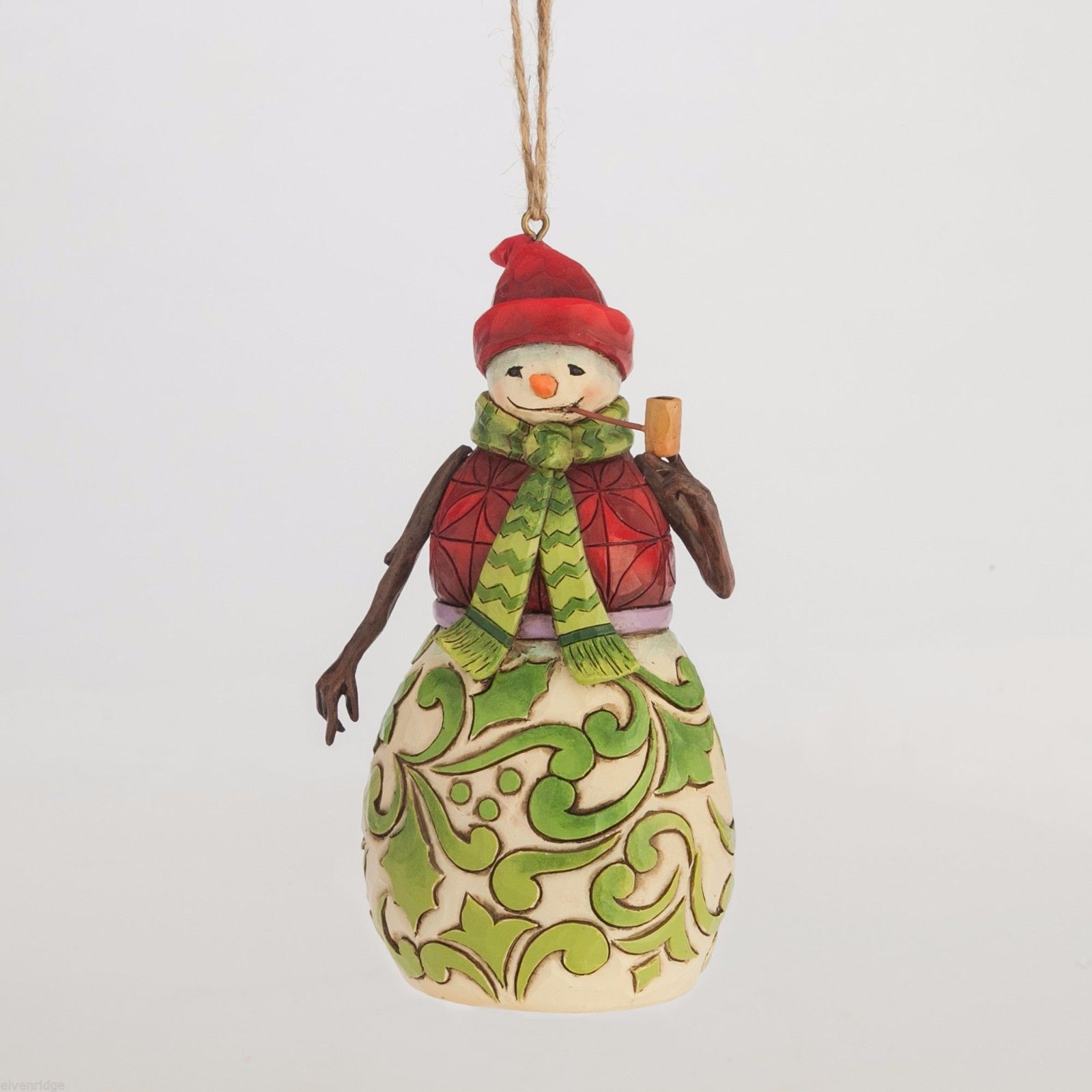 Jim Shore Hanging Ornament Red and Green Snowman   New in Box