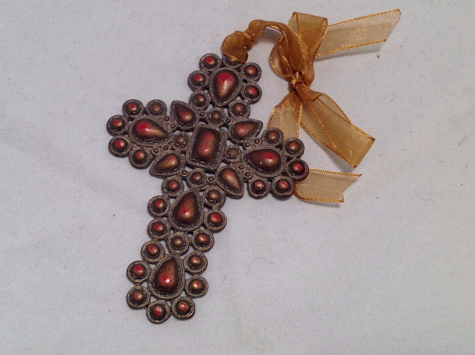Vintage Look  Cross Ornament w brown matte stones