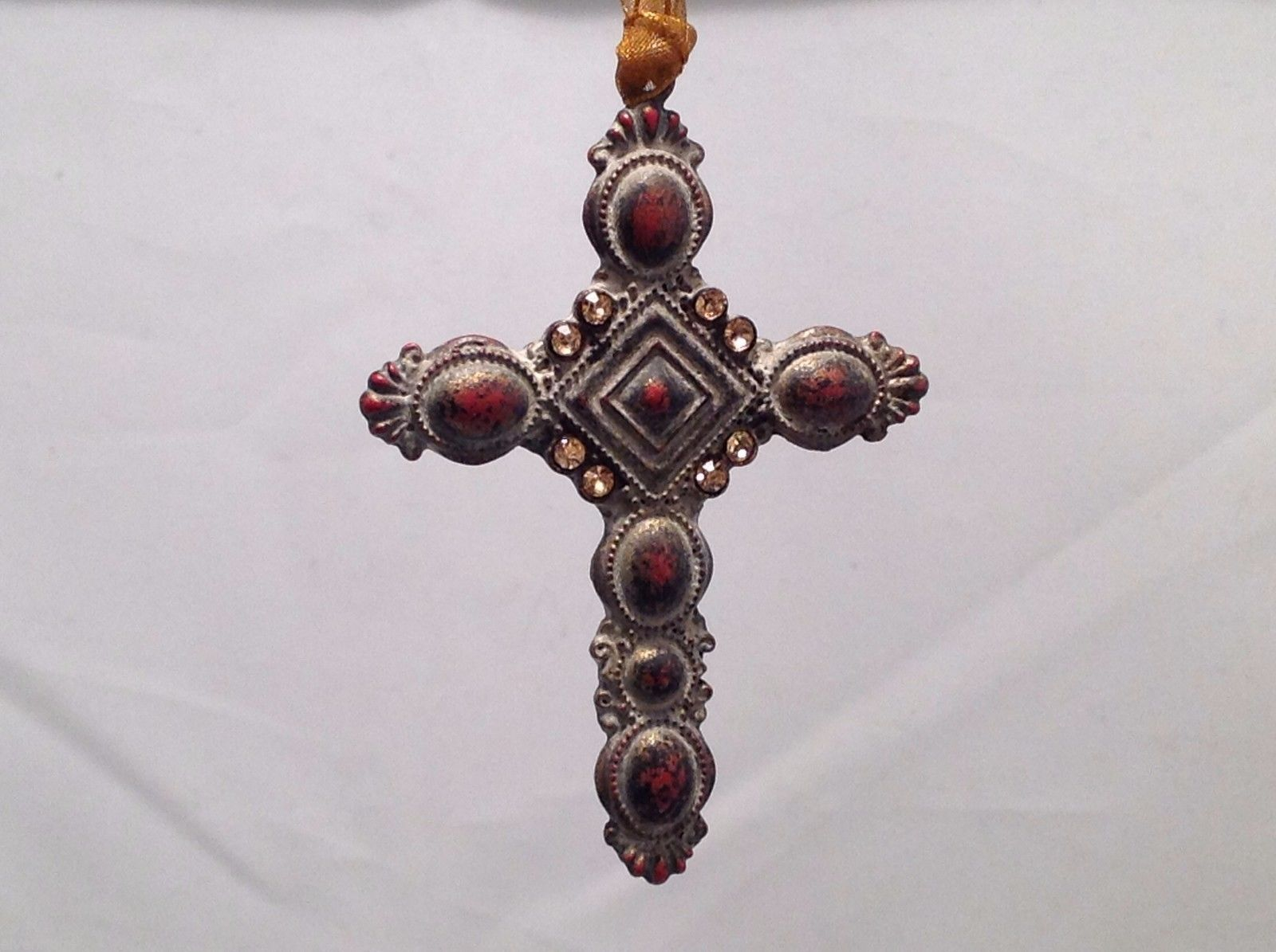Vintage Look  Cross Ornament w  brown matte stones and petite sparkly stones