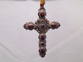 Vintage Look  Cross Ornament w  brown matte stones and petite sparkly stones - $39.99
