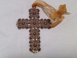 Vintage Look  Cross Ornament w brown matte stones & small sparkly brown crystals