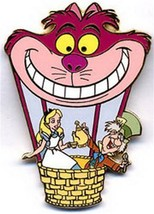Cheshire Cat Alice Hot Air Balloon Authentic Disney pin on card - $67.71