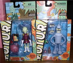 Futurama Bender Kif  Build a bot Robot Devil parts included 2 Action Fig... - $290.24
