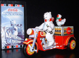 Motorcycle Motortrike with Polar Bear Tin wind up Coca-Cola toy with COA in box - $382.17