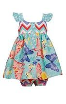 Baby-Girls Infant Aqua Buttefly Print Ruffle Shoulder Dress, Bonnie Baby, Aqu...