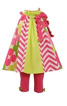 Little Girls Mix Chevron Panel Trapeze Dress/Legging Set, Bonnie Jean, Pink, 4T