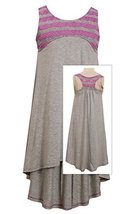 Big-Girls Tween 7-16 Grey/Purple Perforated Stripe Racerback High Low Knit Dr...