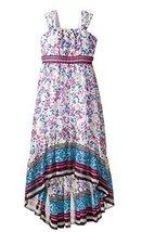 Little Girls Magenta/Multi Floral Print Chiffon High Low Maxi Dress, Magenta, 5