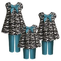 Size-12M BNJ-0867B 2-Piece JADE-BLUE BLACK WHITE PULL-THRU RIBBON ZEBRA ANIMA...