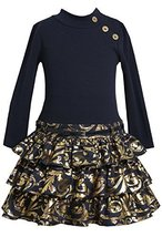 Bonnie Jean Little Girls 2T-6X Navy Gold Belted Knit to Tier Drop Waist Dress...