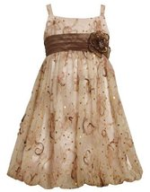 Pink Empire Waist Sequin Soutache Mesh Bubble Dress PK4MU, Pink, Bonnie Jean ...