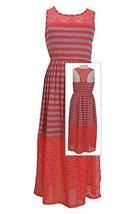 Big Girls Tween Coral/Grey Stripe Illusion Lace Maxi Tank Dress, CR4MU, Coral...