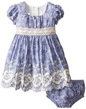 Bonnie Baby Baby Girls' Embroidered Chambray Dress, Blue, 12 Months [Apparel]