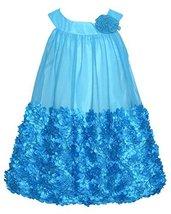 Bonnie Jean Little Girls 2T-6X Turquoise Bonaz Rosette Bubble Trapeze Dress (...