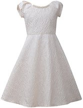 Big Girls Tween Ivory Metallic Jewel Neckline Brocade Fit and Flare Dress, IO... - $49.40