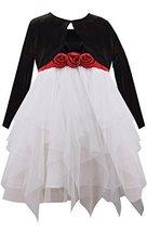 Bonnie Jean Little Girls' Cascade Dress with Cardigan, Black/White, 3T [Apparel]