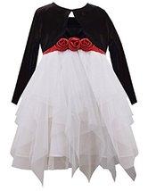 Bonnie Jean Little Girls' Cascade Dress with Cardigan, Black/White, 6X [Apparel]