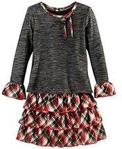 Big Girls Tween Black Red Plaid Knit Denim Tier Dress/Jacket Set, W4-TG16-WIN...