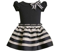 Bonnie Jean Little Girls' Knit Top To Ribbon Skirt,Navy,4T [Apparel]