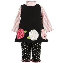 Size-12M BNJ-6660B 3-Piece BLACK PINK WHITE STRIPE KNIT BONAZ FLOWER BORDER F...