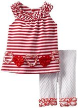 Bonnie Baby Girls Newborn Red Heart Legging Set, Red, 3-6 Months [Apparel]