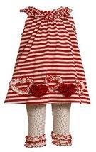 Bonnie Baby Girls Infant Red Stripe Legging Set (3-6 Months, Red) [Apparel]