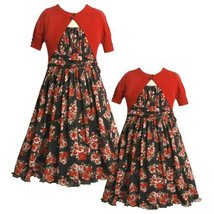 Size-6,BNJ-7059B 2-Piece RED BLACK MULTI FLORAL PRINT MESH OVERLAY Special Oc...