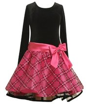 Bonnie Jean Girls 2-6X Stretch Velvet Bodice To Drop Waist Organza Skirt with...
