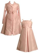 Size-5, Pink, BNJ-7173R, Pink Sheer Bow Front Embroidered Dress / Coat Set,Bo...