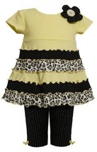 Yellow Purl Edge Mix Printblock Knit Dress/Legging Set YL1MH, Yellow, Bonnie ...