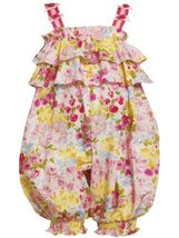 Size-0/3M, Pink, BNJ-8636R, Tiered Ruffle Glitter Floral Print Romper,Bonnie ... - $29.60