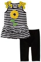 Good Lad Baby Girls' Black Stripe Knit Legging Set, Black, 24 [Apparel]