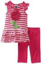 Good Lad Baby Girls' Pink Stripe Knit Legging Set, Pink, 12 [Apparel]
