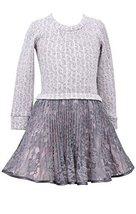 Girls Plus Pink/Ivory Cable Knit to Crystal Pleat Lace Drop Waist Dress, Bonn...