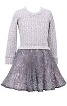 Big Girls Plus Pink/Ivory Cable Knit to Crystal Pleat Lace Drop Waist Dress, ...
