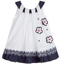 Baby Girls Blue White Dimensional Daisy Pull Thru Neckline Knit Dress, Blue, ...