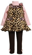Bonnie Baby Girls' Leopard Print Fleece Legging Set, Brown, 24 Months [Apparel]