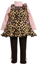 Bonnie Jean Little Girls' Leopard Print Fleece Legging Set, Brown, 2T [Apparel]