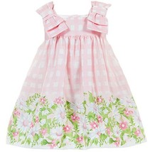 Baby Girls Pink Bow Shoulder Daisy Floral Border Check Dress, Mayoral, Rose, 24M