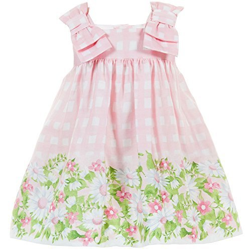 Baby Girls Pink Bow Shoulder Daisy Floral Border Check Dress, Mayoral, Rose, 6M