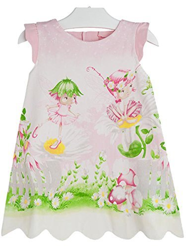 Baby Girls Pink Garden Fairy Print A-line Dress, Mayoral, Geranium, 3M [Apparel]