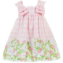 Baby Girls Pink Bow Shoulder Daisy Floral Border Check Dress, Mayoral, Rose, 12M