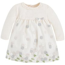 Baby Girls Long Sleeve Floral Embroidered Border Empire Waist Dress, Mayoral,...