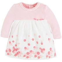 Baby Girls Long Sleeve Floral Embroidered Border Empire Waist Dress, 12M, Mayora
