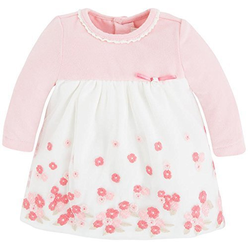 Baby Girls Long Sleeve Floral Embroidered Border Empire Waist Dress, 4/6M, Mayor