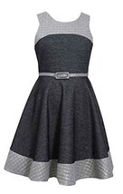 Girls Plus Grey Belted Colorblock Knit Chambray Fit Flare Dress, Grey, 18.5