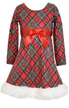 Little Girls Red/Green Spangle Diamond Plaid Fit Flare Santa Dress, X2-TDLG-H...